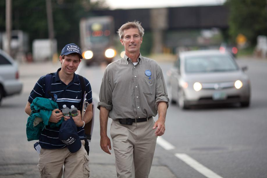 State Rep. Tom Conroy (D - Wayland) and campaign volunteer Andrew Levine (left) walk along Rt 20 in Worcester, MA on July 26, 2011